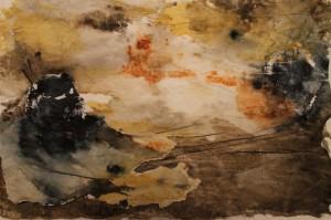 Akvarellmonotypi med collage