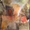 Collage med bibelpapper. Akvarell 50x50 cm.